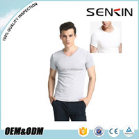 OEM V-neck Korea Mens Slim Blank 95% Cotton 5% Elastane T Shirt