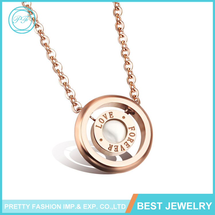 Latest Design Jewelry Pretty Rose Gold Plated Stainless Steel Natural Shell Forever Love Eternalty Loop Pendant Chain Necklace