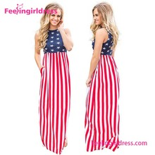 Top Quality Fashion Stars And Stripes Sleeveless Long Summer Dress