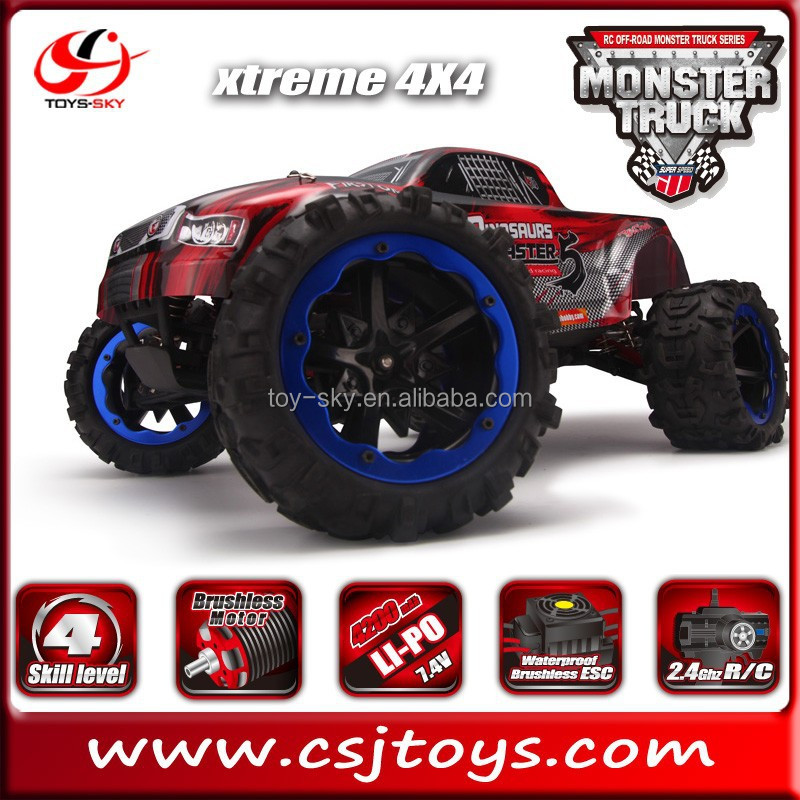 1/8 Scale 4WD 2.4GHZ RC Off-road Brushless Monster Truck Dinosaurs master Electric Racing Car 45MPH+