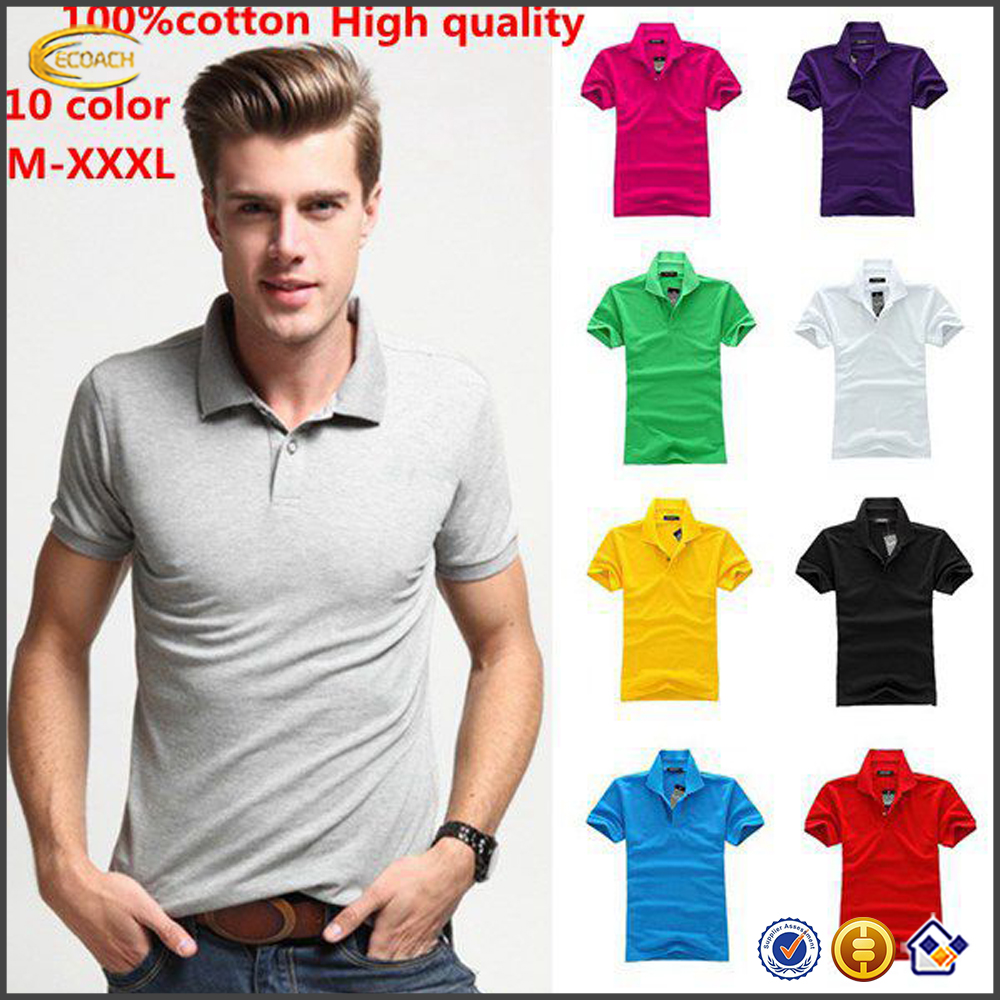 Ecoach high quality polo shirts wholesale china short sleeve solid color blank uniform 100%cotton bulk pique mens polo shirts