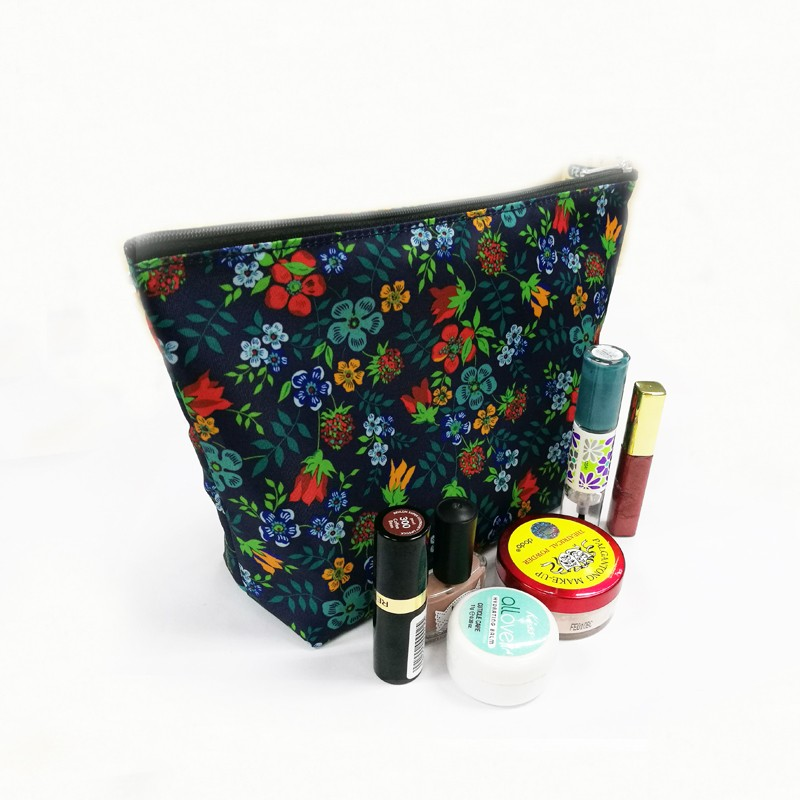elegant floral squares design cosmetic makeup bag