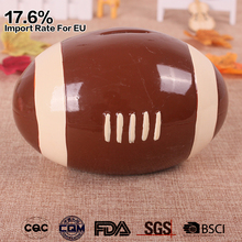 wholesale custom hand painted rugby shaped kids pottery money box