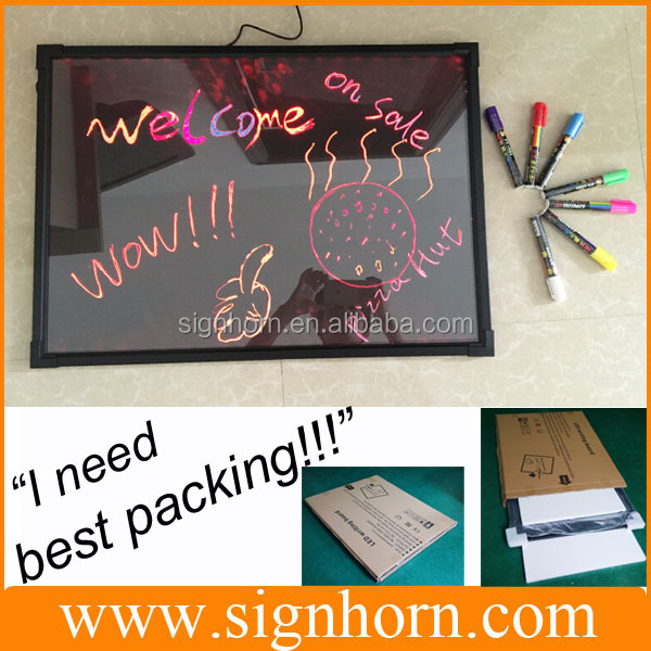 Low price 60*80 led erasable & rewrite message board for advertisment