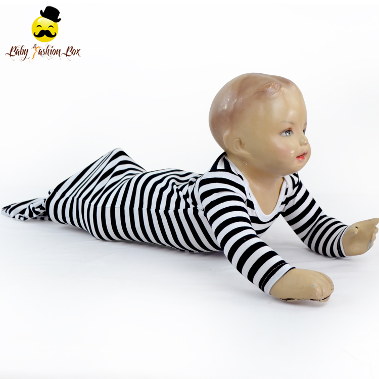 Infant And Toddler 100% Cotton Kids Sleeping Bag Black Stripe Knotted Baby Gown