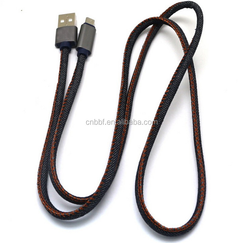 3FT Charging Cable Hand-sewn Cowboy Leather to USB Charge and Sync Cable for Apple iPhone 7 6/6s/6 plus/6s plus,5