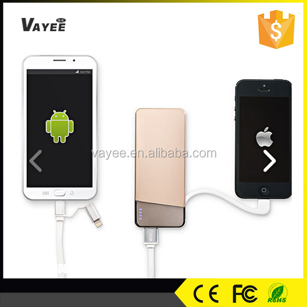 Wireless built-in usb cable power bank charger for power suppy, 5500mah power bank digital display
