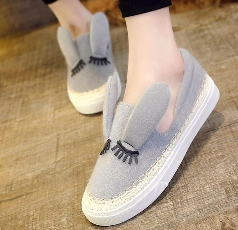 Hot sale women girl Flat Slip On Casual Sneaker lady plush rabbit ear outdoor shoes
