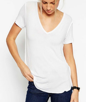 3704 D.Y Fashion Europea sexy summer ladies v-neck modal t-shirt