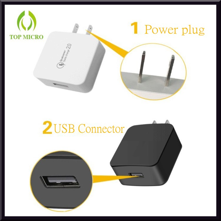 Portable MINI USB QC2.0 Adapter Quick Charge Battery Charger For iphone Android