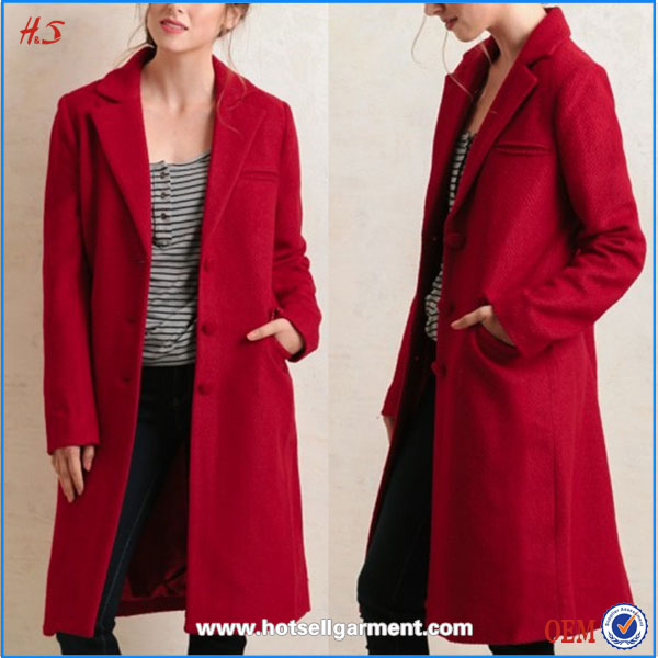 Best Selling Shop Online Products Korean Clothes Ladies Long Coat Design Red Women Coats