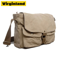 2371 Hot Fashion Hot Sell 16 oz Washed Canvas Old School Vintage Shoulder Bags for College Students fit Laptop