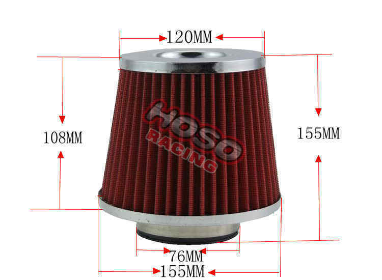"3"" 76MM Performance High Flow Open Top Cone Mesh Racing Short Ram Cold Air Intake Filter Air Filter"