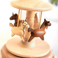 Wooden vintage carousel horse rotating kid music box movements