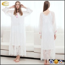 Ecoach Wholesale OEM 2016 European Style Women Round Neck Long Sleeve Sleepwear Clothing High Quality Lace Home Dress Nightdress