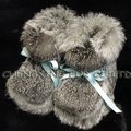 CX-SHOES-07 Genuine Rabbit Fur Baby Shoes