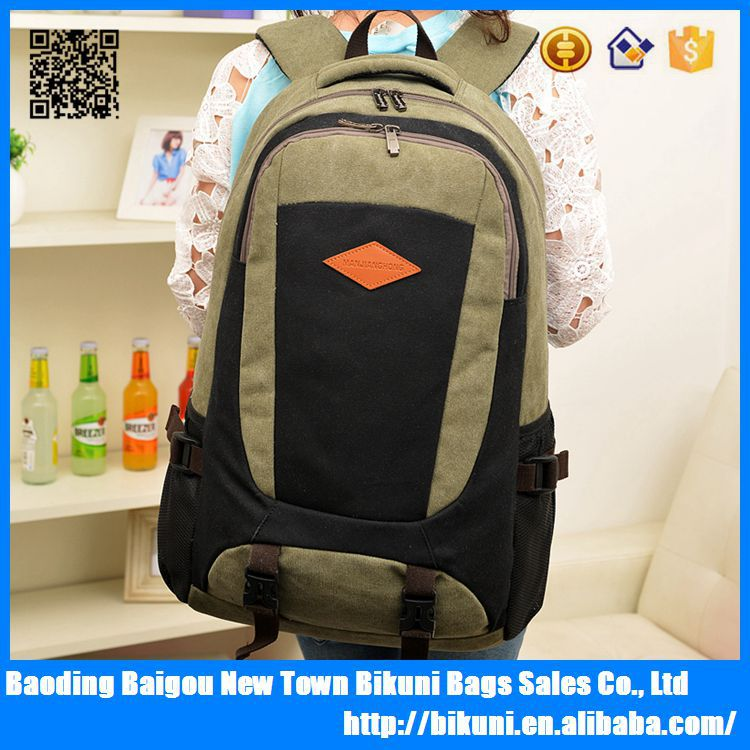 High quality canvas school laptop backpack travel thickness rucksack knapsack