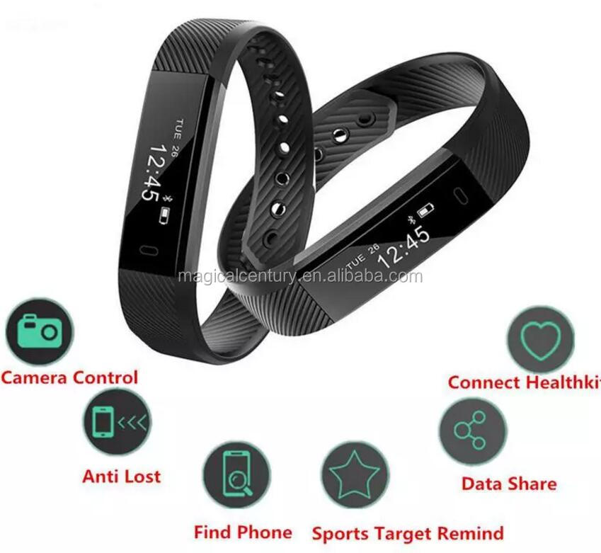 New 0.87 Screen GPS Tracking Smart Bracelet ID115 Plus HR IP67 Waterproof Smart Remote Control Sleep Monitor Smart Wristbands