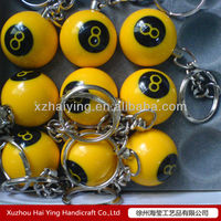 Polyresin solid color 8 ball key chain mini keychain mobile phone football key chain