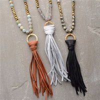 N15042802 Long Tassel Necklace Boho Gemstone