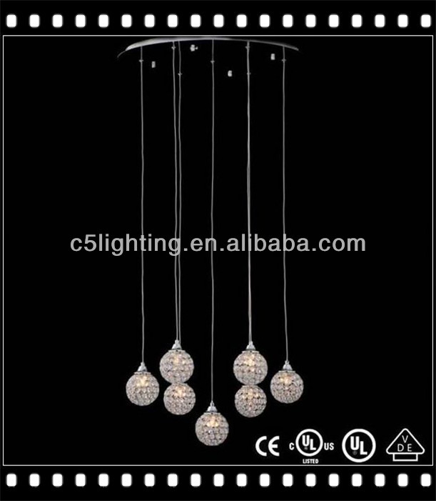 Hanging Spiral Crystal Iron Ball Shade Balloon Pendant Lamp
