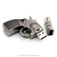 Custom laser engraving logo 1GB, 2GB, 4GB, 8GB, 16GB metallic gun shape usb flash memory stick drive