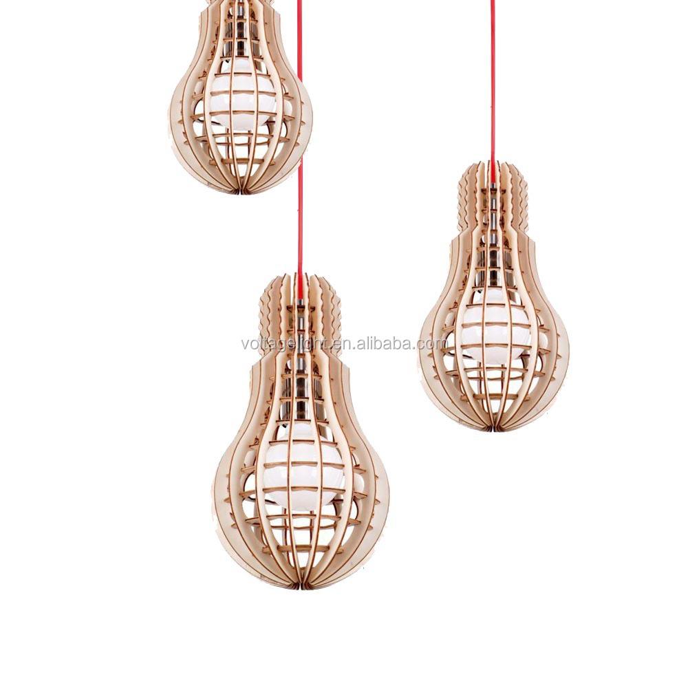Modern Led Pendant Lighting Fancy Natural Wooden Bulb