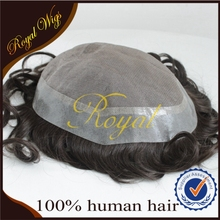 Top Quality Hand Tied Natural Hairline Mono Pu Men Hair Piece Toupee