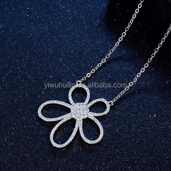 YFY141 Yiwu Huilin Jewelry One Big Crystal Flower Pattern Different Styles Silver Plated Mother Daughter Necklace