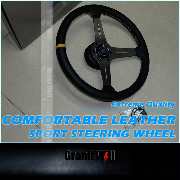 15 Inch 380MM Comfortable Leather Wrap Strong Sport Steering Wheel/ GW-SW-ND-0-T-L