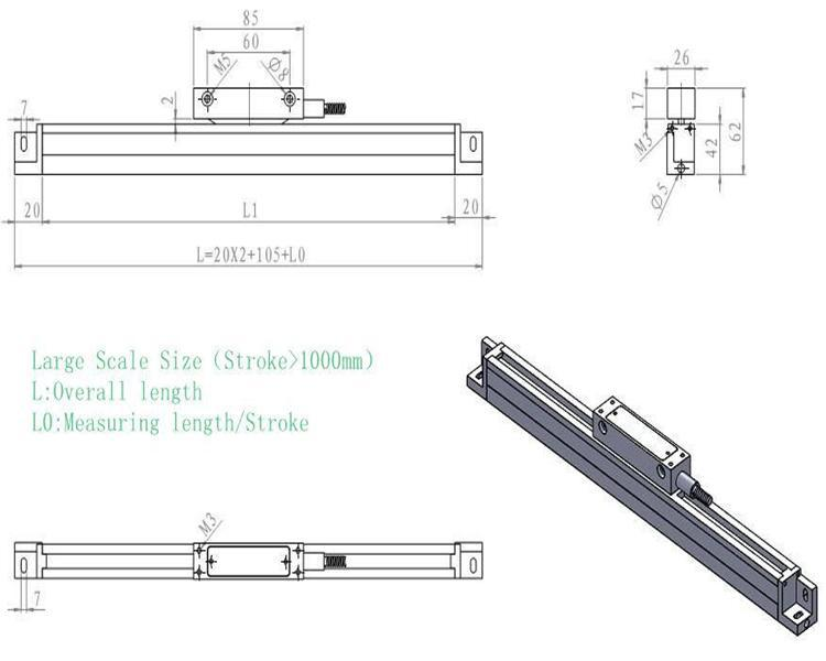 1800*250*280mm 3pcs scales and 3axis dro make up set for boring milling lathe machine etc.