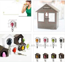 Sparrow Bird House Plastic Whistle Key Chain with Wall Key Hook Holders