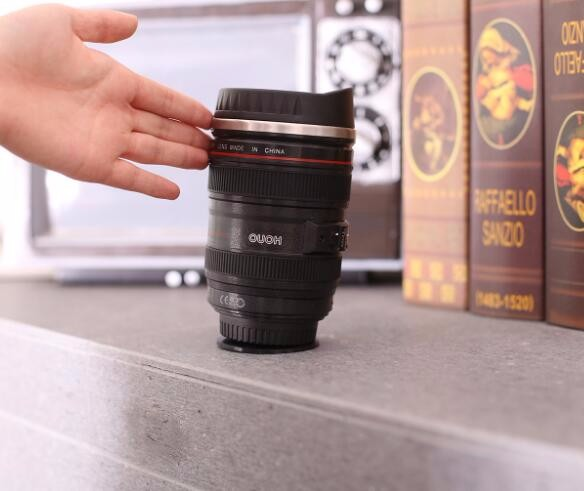 Stainless Steel Not Inverted Camera Lens Mugs Stainless Steel Insulated Tumbler Cup 400 ML Coffee cup with Suction Base
