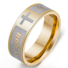 Cheap Stainless Steel Religion Christian Jewelry Engraved Cross Jesus Rings