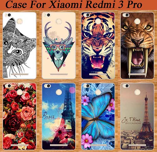 Fashion Cases For Xiaomi Redmi 3 Pro 3s Diy Colored Painted Tiger Owl Rose soft tpu Phone Cover For Redmi 3 Pro Sheer Bags