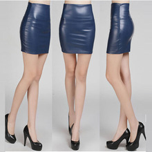 2016 Spring fashion Leather Look High Waist Tight Mini Skirt Ladies Work Wear Skirts M8873-02