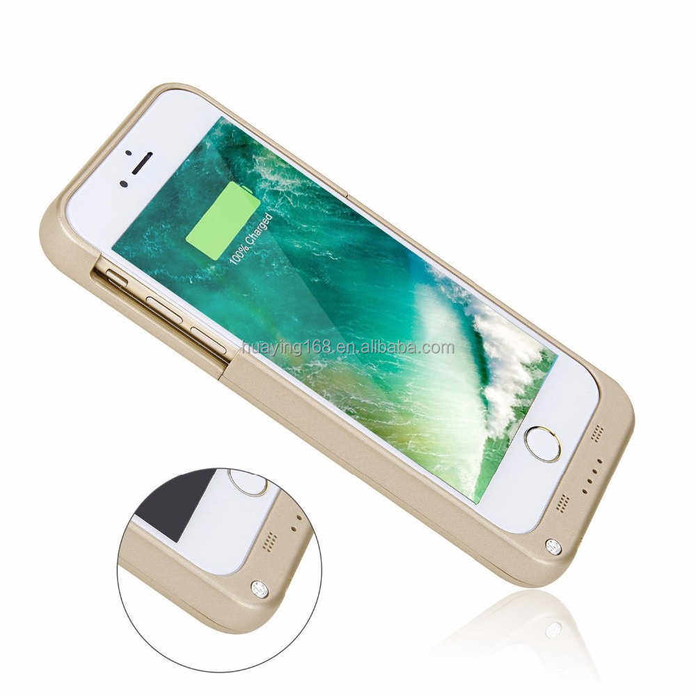 Portable Charger Case Outdoor Moving External Battery Backup Case Cover with 4 LED Lights for iPhone 7 4.7""
