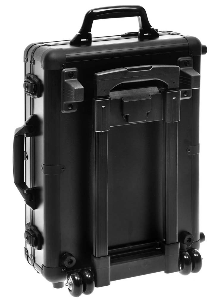 Black Artists Rolling Makeup Train Case Trolley Case , Cosmetic trolley case with light and mirror