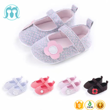 2017 new design walking Canvas casual cute flower girls baby shoes for 1years old