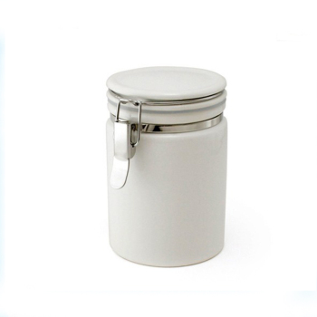 White ceramic kitchen coffee Tea Canister Set with lock