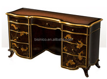 Vintage lacquer wooden Dressing Table, Gold Painting Bedroom Furniture Set, Retro Lacquer Painted Dresser