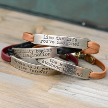 CR1094 Wholsale Inspiration Leather Bracelet, Message Stamped Genuine Leather Bracelet, Bar Metal Leather Bracelet