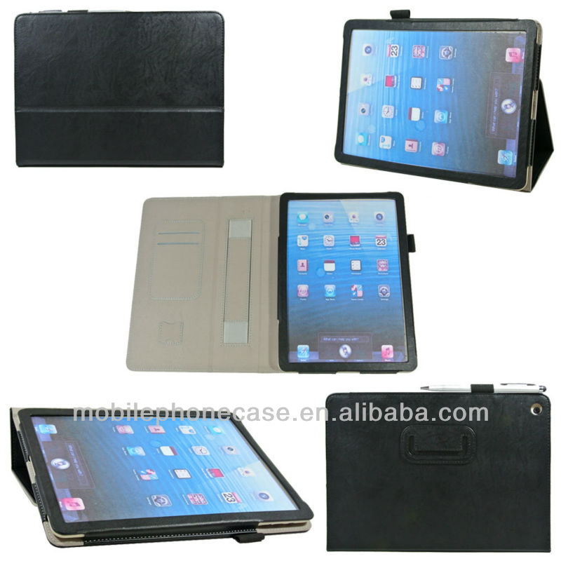 Flip Stand leather case for iPad 2/3/4 with handstrap and card slot