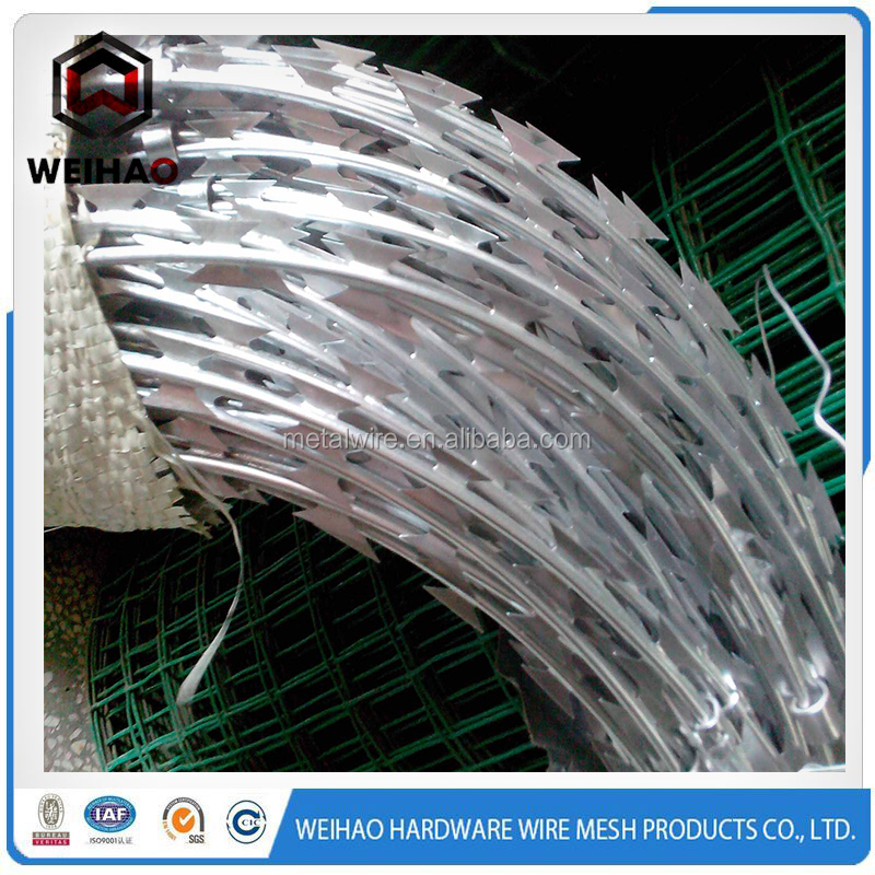 BTO-22 concertina galvanized barbed wire stainless steel razor barbed wire barb blade wire weight or price per meter