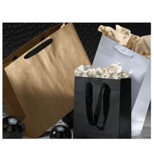 Wholesale custom design uncoated paper bags paper tote with twill handles