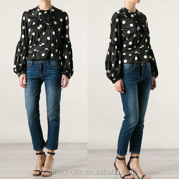 women clothes high quality puff sleeve polka dot blouse