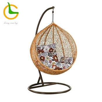 Used big lots factory wholesale egg shape indoor and outdoor balcony hanging chair with stand