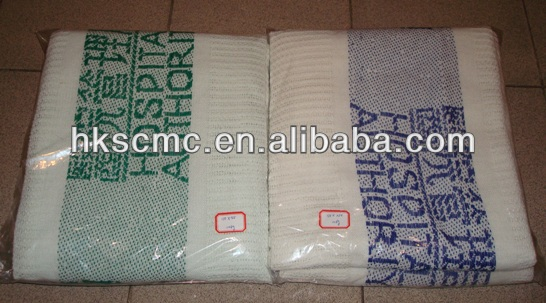 100% Cotton White Cellular Jacquard Hospital Blanket