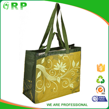 Customized flower pattern yellow pp woven shopping tote bag print