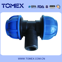 irrigation pp compression fittings plastic female thread pipe tee